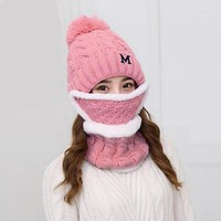 A Set Of girls Women Winter Hats Scarves Masks Cotton Knitted Hat Scarf Set For Male Female Winter Accessories 3 Pieces Hat Scar