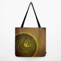 August special! Tote bag Lunch bag Golden colored bag  with black strap Artistic print of chrome tolerance Image of everlasting