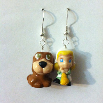 Cinderella and Bruno Earrings by PurplePandaJewelry on Etsy