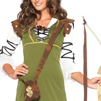 Sherwood Babe Green Black Brown White 3/4 Sleeve V Neck Lace Up Tunic Mini Dress Halloween Costume