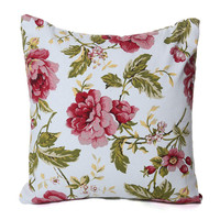 Floral Glory Shabby Chic 18 x 18 Pillow Cover