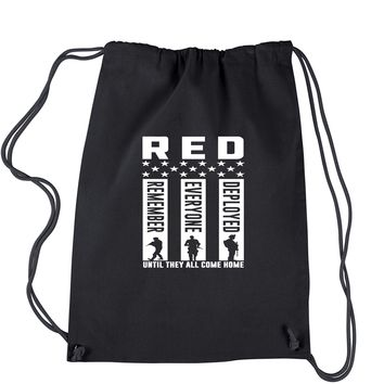 RED Remember Everyone Deployed Drawstring Backpack