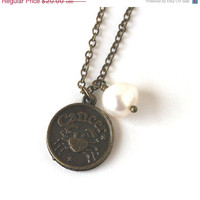 VALENTINES DAY SALE Cancer zodiac star sign charm and white pearl antique bronze necklace