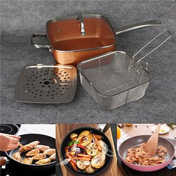 Copper Square Pan Induction Chef Glass Lid Fry Basket Steam Rack 4 Piece Set