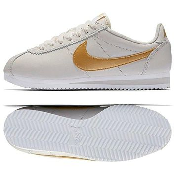 NIKE Wmns Classic Cortez Leather 807471-011 Light Bone/Gold Women's Shoes