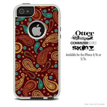The Brown & Orange Paisley Skin For The iPhone 4-4s or 5-5s Otterbox Commuter Case