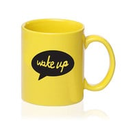 SALE - Wake Up - Talking Mug - Yellow - Gift for Coffee Lover