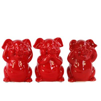 Colorful Standing Pig No Evil Figurines - Assortment of 3 - Red - Benzara