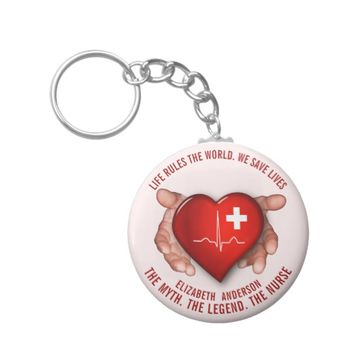 Registered Nurse With Red Heart In Hands Keychain