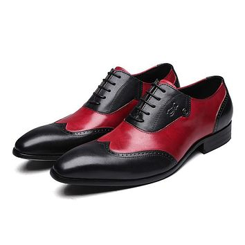 Genuine Leather Wingtip Brogue Oxfords Shoes