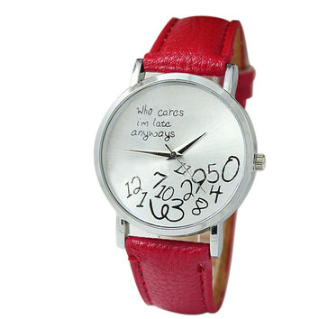 """""""Who Cares I'm Late Anyways"""" Women's Red Creative Fashion Faux Leather Quartz Watch"""