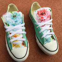 Floral Converse Chuck Taylor Shoes Mint