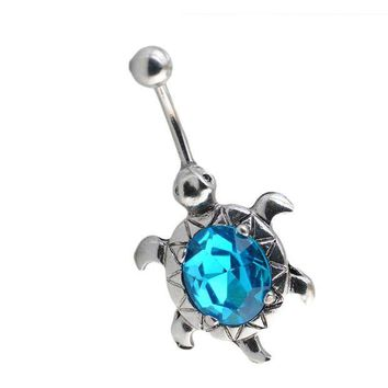 ac PEAPO2Q Charming Body Piercing Jewelry Turtle Egg-shaped Oval Short Buckle Navel Belly Button Rings can dropshiping