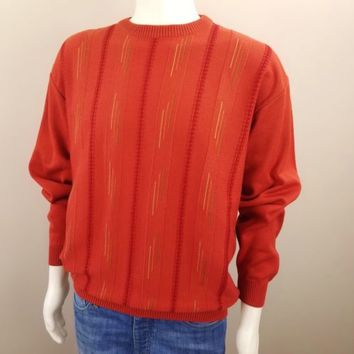 St. Croix Knits Mens Sweater Brick Red Cotton Blend Pullover Sz M Made in USA
