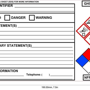 "NEW GHS Chemical Label OSHA Label Safety Sign Decal 7.5""x4"", 100 sheets 70 lb. High Gloss (UV)"
