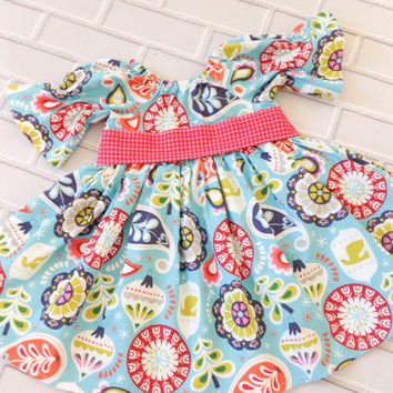 Toddler Christmas Dress Girls Blue Red Green Boutique Clothing By Lucky Lizzy's