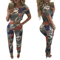 Abstract Print Round Neck Crop Top and Pants