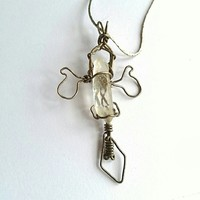 vintage quartz point cross necklace wire wrap