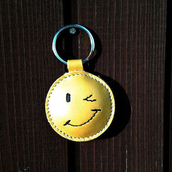 Wink Smiley ;-) , Happy Face ;) Emoticon Yellow Leather Keychain FREE Shipping