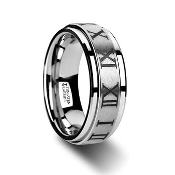 Roman Numeral Engraved Tungsten Spinner Ring with Raised Center