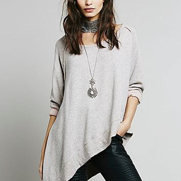 Free People Womens Raw Edge Shark Bite Pullover