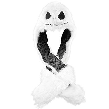 Jack Skellington White Snood Beanie Pocket Faux Fur Nightmare Before Christmas