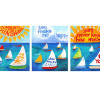 YOU are my SUNSHINE, SET of 3 8x10 Prints, Nursery decor, kids room wall art.