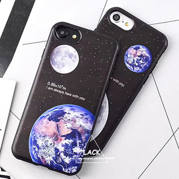 Lovely Cartoon Couples Case For iphone 7 Case For iphone7 6 6S Plus Phone Cases Moon Earth High Tech Cosmic Picture Back Cover
