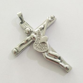 Johnny Hallyday Pendant Necklace Men Jewelry Christian Crucifix