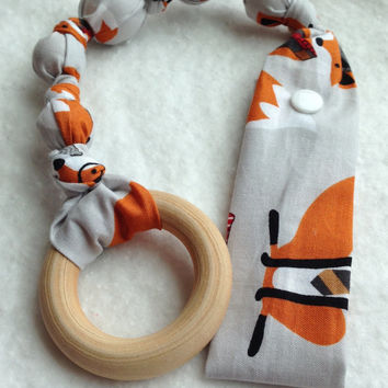 Foxy Tula teether, Fox attachable teether, Fox Tula Accessories, snap on teether, fabric teething toy, Foxy wood teething ring