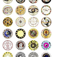 "zodiac signs charts horoscope clip art digital download collage sheet 1.5"" inch circles astrology graphics images craft pendant printables"