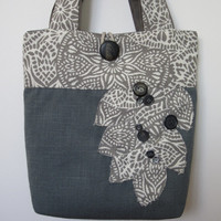 Grey Handmade Womens Tote Bag, Blue Shoulder Handbag, Large Tote Bag, Travel Tote, Blue Handbag, Shoulder Bag, Fabric Tote Bag, Handmade Bag