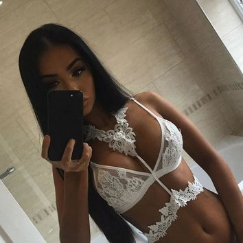 ESBONHS KL966 Sexy halter lace embroidery crop top summer beach cami women corset high quality white black bralette