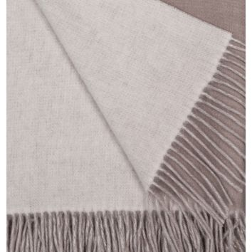 Platinum and White Wool / Cashmere Double-Faced Throw