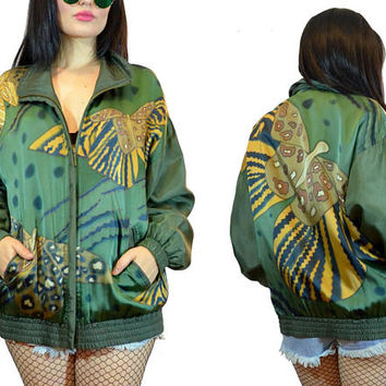 vintage 90s green BUTTERFLY windbreaker jacket novelty moth print soft grunge olive 1990s coat medium
