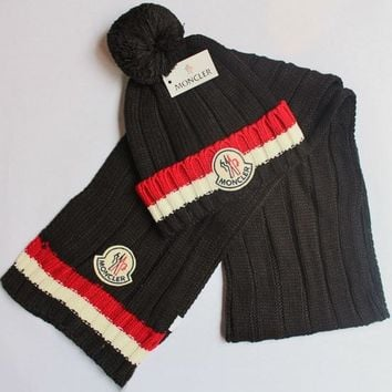 Day-First™ Moncler Women Men Winter Knit Hat Cap Scarf Set Two-Piece