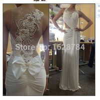Custom Made 2016 Knitting Ruched White Prom Dress with Pearls Sheer Evening Gown Sexy Evening Dress Vestidos De Gala Longo