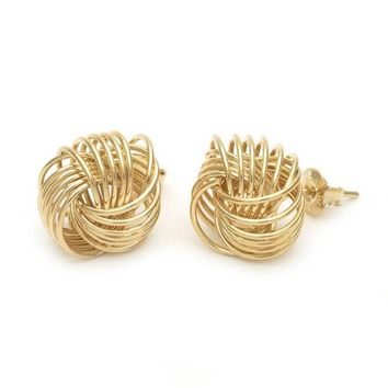 Gold Layered Stud Earring, Love Knot Design, Golden Tone