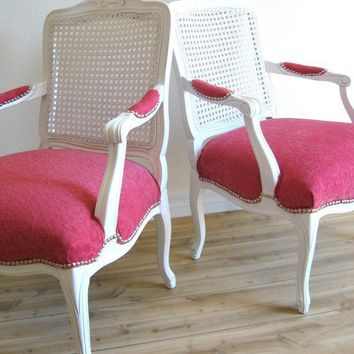 Vintage FRENCH Cane Back HOT PINK Arm Chair by fabulousmess