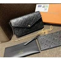 Louis Vuitton LV Women Fashion Leather Chain Crossbody Shoulder Bag Satchel Set Three Piece Black