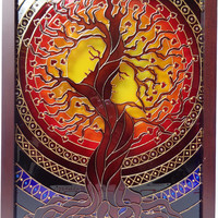 "Tree of love art 15""x12"" Glass painting Tree of life Family tree Wall art"