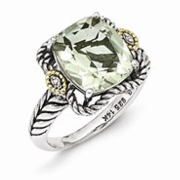 Sterling Silver w/14k Yellow Gold Antiqued Green Amethyst and Diamond Ring