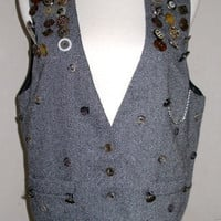 Vintage 80's Retro MOD Herrinbone Vest with Lots of Buttons One Size S/M