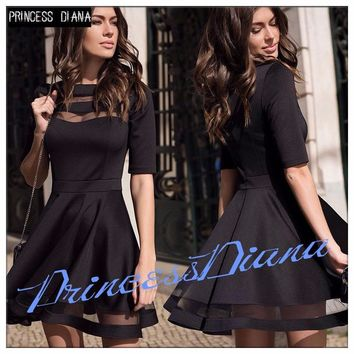Womens Dresses New Arrival 2017 Summer Black European Casual Style Dress Ladies Knee Length Vintage Mesh Sexy Party Dress