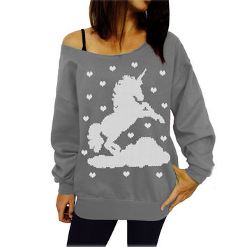 Grey Unicorn Print Sweatshirt