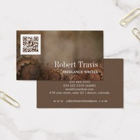 QR Code Steampunk Gears Industrial Writer Author Business Card