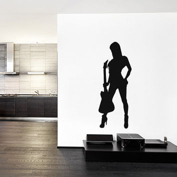 kik822 Wall Decal Sticker Room Decor Wall Art Mural girl playing bass guitar music song heavy metal hard rock band chords bedroom living