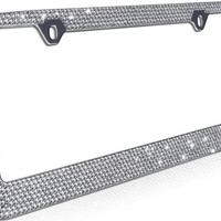 Rhinestone License Plate Frame, Chrome/Metal 12 Row Bling Frames Diamond Crystal Glitter Auto Accessory, Custom Decor for Car Truck Van SUV