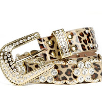 [gryxh31600001]Leather diamond Leopard grain belt
