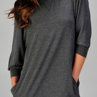 Women's quarter sleeve casual pullover with side pockets (8282, HGrey, M)